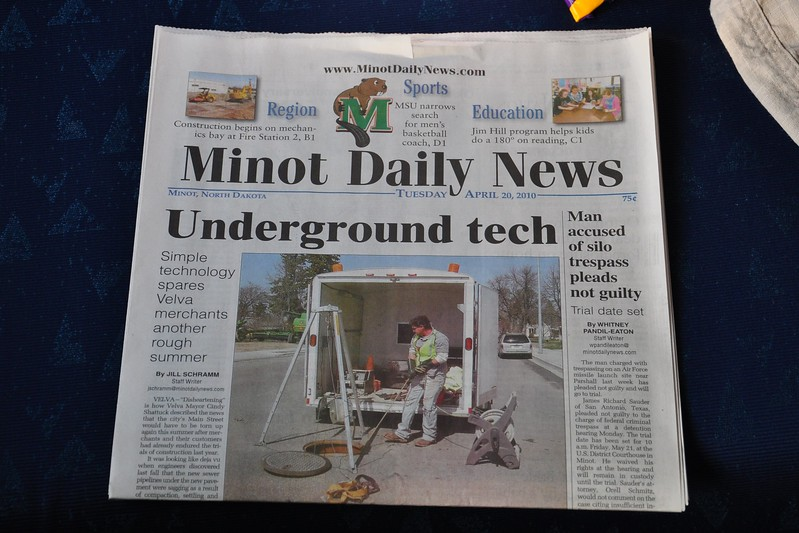One of the perks of sleeper travel is a newspaper every morning.  Minot's offering was a little less than helpful.
