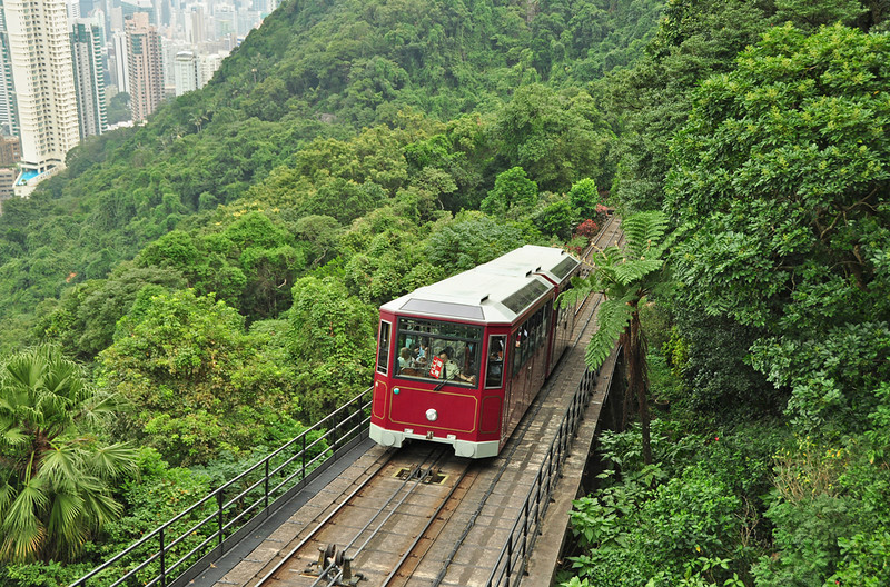 Peak Tram is seen climbing through the dense vegetation on Victoria Peak Hong Kong. Note the driver holding the Red full sign for the intermediate staion. A very difficult location to photograph. I had to find a hole in a fence to get this shot.