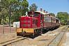 "Fowler locomotive #2 ""Rosalie"" departs village jctn station Whiteman park to take the loop line."