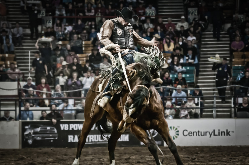 PRCA cowboy getting his moneys worth going for the 8 second ride at the National Western Stockshow, Denver, CO.