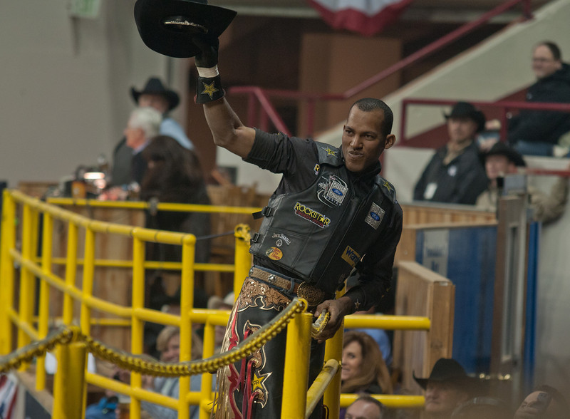 Pro Bull Rider Valdiron de Oliveira, at the National Western Stock Show, Denver, Colorado.