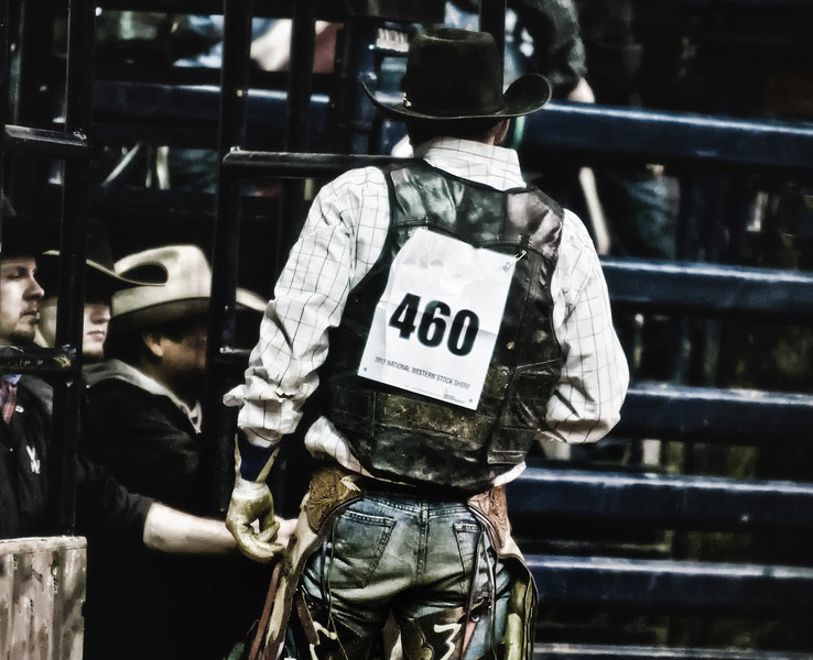 PRCA Bull rider waiting for the score of his last ride, National Western Stockshow, Denver, CO.