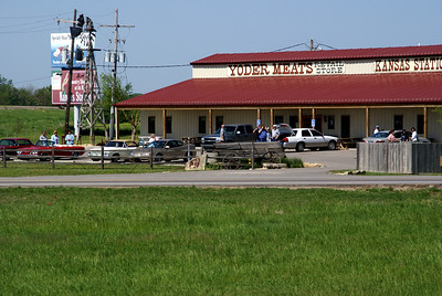 Kansas Station / Yoder Meats store at Yoder seen from train