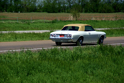 Corvair on K-96 passing train near Haven