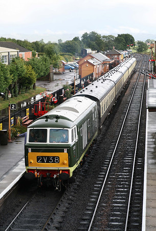 D7017 prepares to leave Bishops Lydeard on the Friday evening. 10/6/11