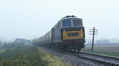 In pouring rain, D7018 runs between Williton and Doniford Beach Halt. The driver can tell I'm getting wet for this one! 17/5/97