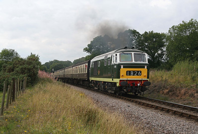 D7017 thunders over Leigh Cottage Crossing at the head of the 13.00 from Minehead. 3/9/11