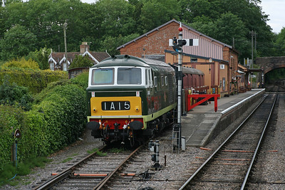 Stabled at Bishops Lydeard, D7017 awaits its next duty. 11/6/11