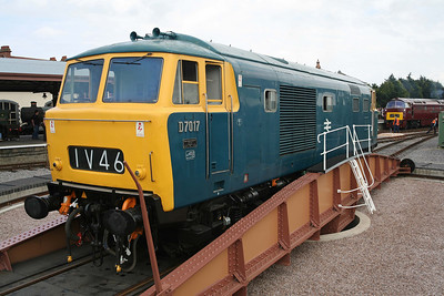 D7017 poses on the newly installed turntable at Minehead. 13/6/09