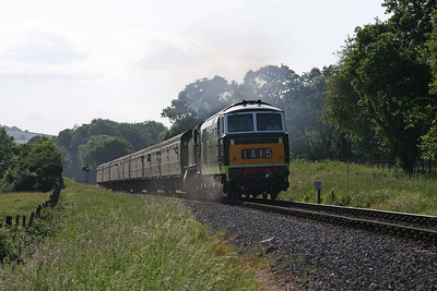 D7017 under power with 4160, near Crowcombe. 12/6/10