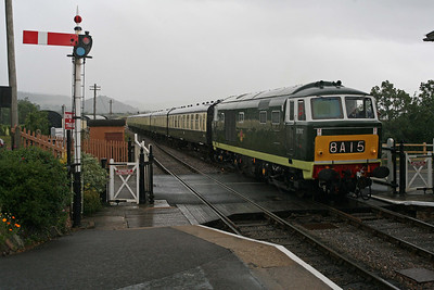 The weather has closed in on Blue Anchor as D7017 arrives from Minehead. 10/6/11