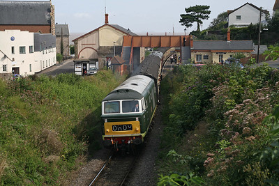 A new footbridge is now in place at Watchet: D7017 rumbles away from the seaside station during a Mixed Traction weekend. 1/9/12