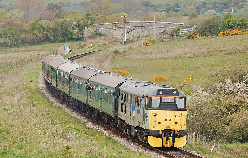 """31271 """"Stratford 1854-2001"""" is seen on the Swanage railway during the gala weekend 07 May 2010."""