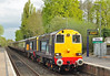 DRS 20312+308 arrive at North Camp on the 05 May. The train is Pathfinder tours, 'The Hampshire Hotchpotch' charter returning from Southampton docks heading back to Crewe. This was a photostop for those on board, a little late running saw the stop cut to ten minutes. Have class 20s ever visited North Camp before?