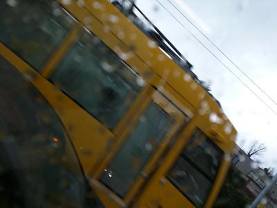 Meeting the yellow streetcar.