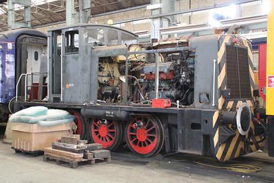 Ruston & Hornsby 0-6-0DH 428 (01508) inside Eastleigh Works  20/10/11.