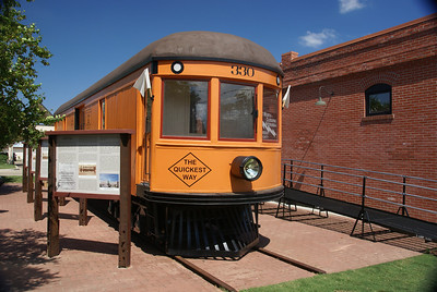 Nicely restored North Texas Traction freight motor on display in Burleson, TX.