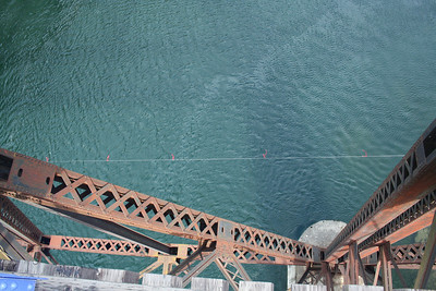 A view looking down from the Box Canyon bridge to the river below. It was a very high bridge.