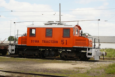 Iowa Traction #51 sitting at the shops in Emery, IA.  It was built by Baldwin-Westinghouse in 1921.