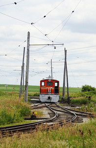 Iowa Traction #50 sits in a maze of tracks and catanery outside the Emery shops.  It was built in 1920 by Baldwin-Westinghouse.