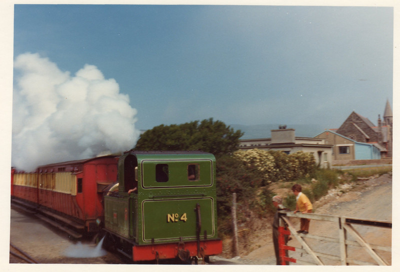 Port Erin in June 1974 - No 4 Loch is seen departing with a Douglas train.