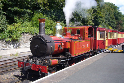 IoMSR no. 4 Loch sits on her train at Douglas.