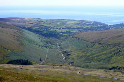 Looking down the valley from Snaefell summit.