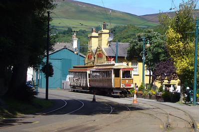 Our tram back to Douglas arrives at Laxey.