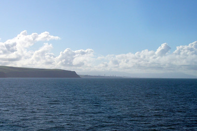 The view from the SeaCat, of St Bees Head, Sellafield and Black Combe just visible in the haze.