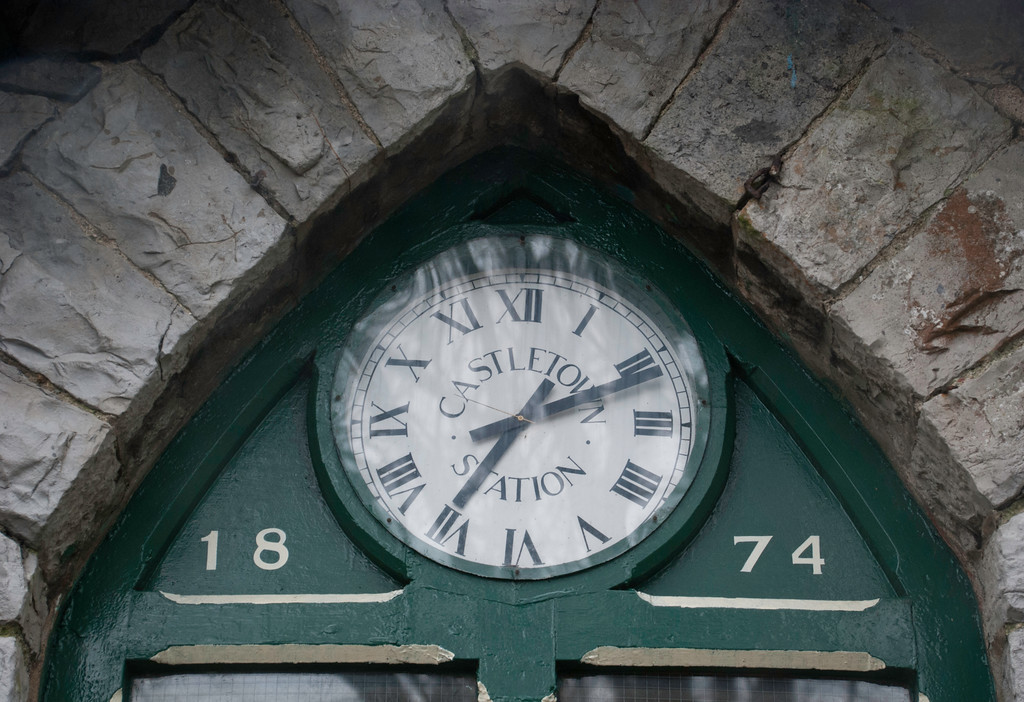 Castletown station clock - not telling the correct time but time for me to explore Castletown and the stormy coast