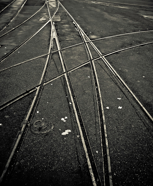 Douglas horse tramway tracks. At the time the future of the tramway was very much in doubt.