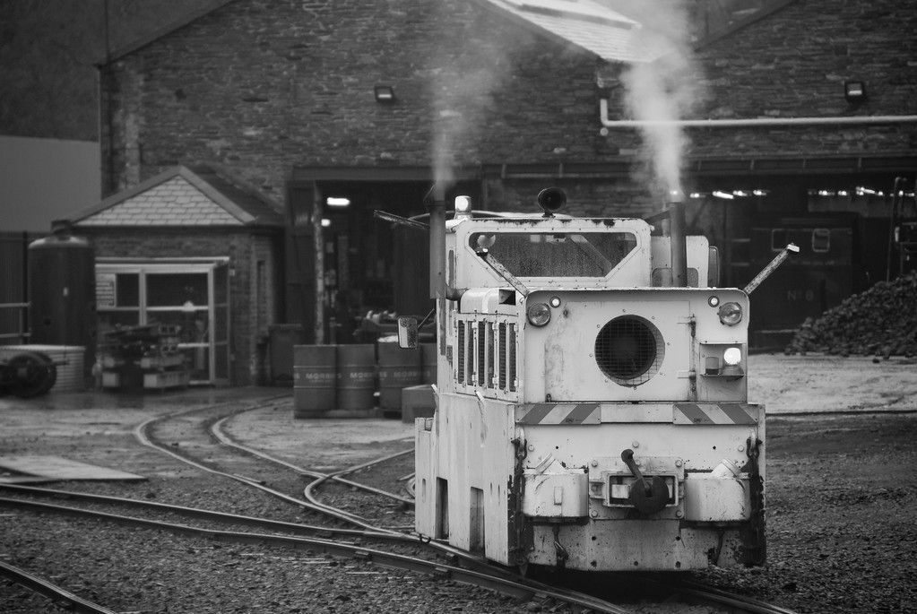 Foxy ex-JLE and Channel Tunnel construction loco oversees the stock shunting at Douglas