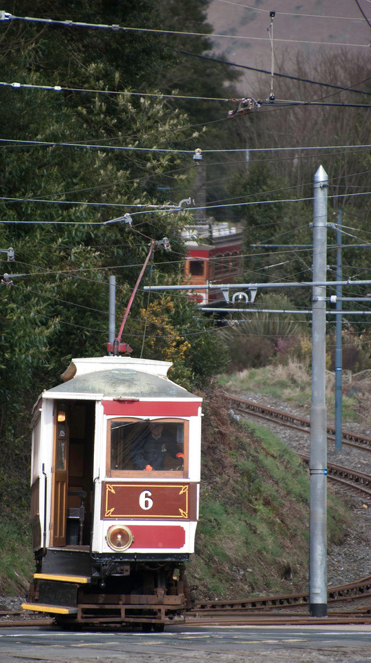 MER Tram 6 approaching Laxey from the Ramsey direction with a Snaefell tram descending into Laxey in the background