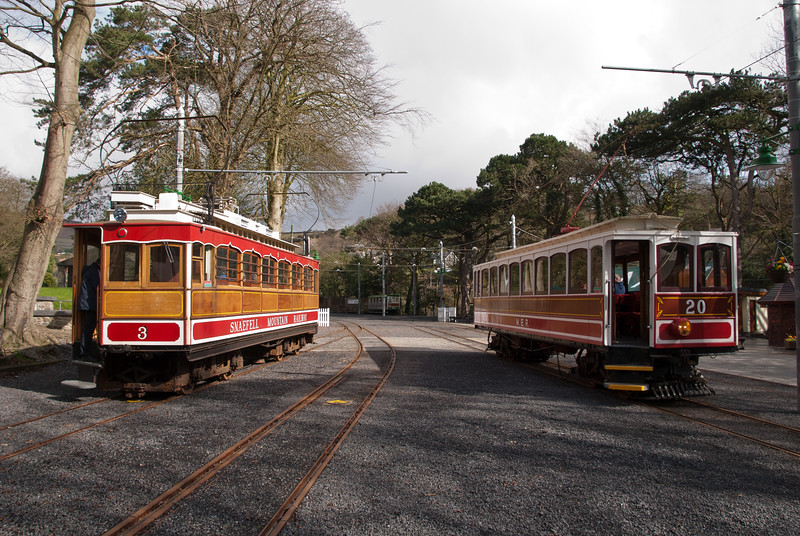 This picture was taken on March 28th and shows the Snaefell Mountain Railway tram 3 on the left and Manx Electric Railway tram 20 on the right. We took tram three up to the summit. Two days later, and after 121 years of service, tram number 3 ran away empty from the summit terminus and following a derailment tumbled down the mountainside and was destroyed. Just before Easter a catamaran from Liverpool hit the pier at Douglas causing injuries.