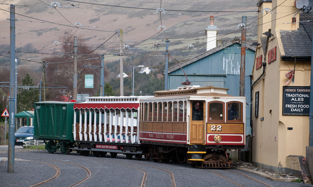 The MER used to carry goods and had a Royal Mail contract until 1975.  A rare box van working is pictured here coming into Laxey