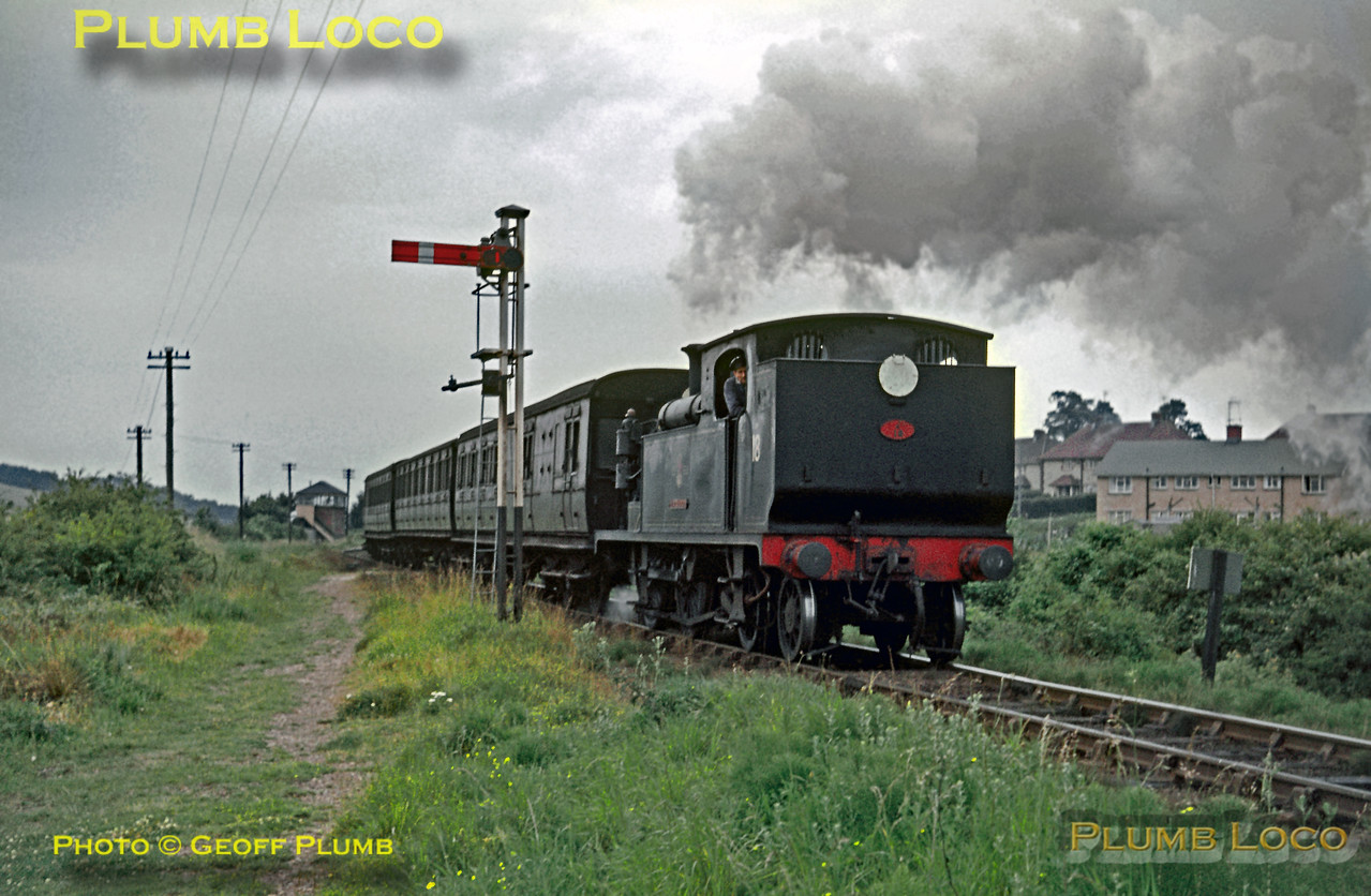 "O2 Class 0-4-4T No. W18 ""Ningwood"" starts away from Brading station with the 11:40 train from Ventnor to Ryde Pier Head, Monday 19th July 1965. Slide No. 1425."
