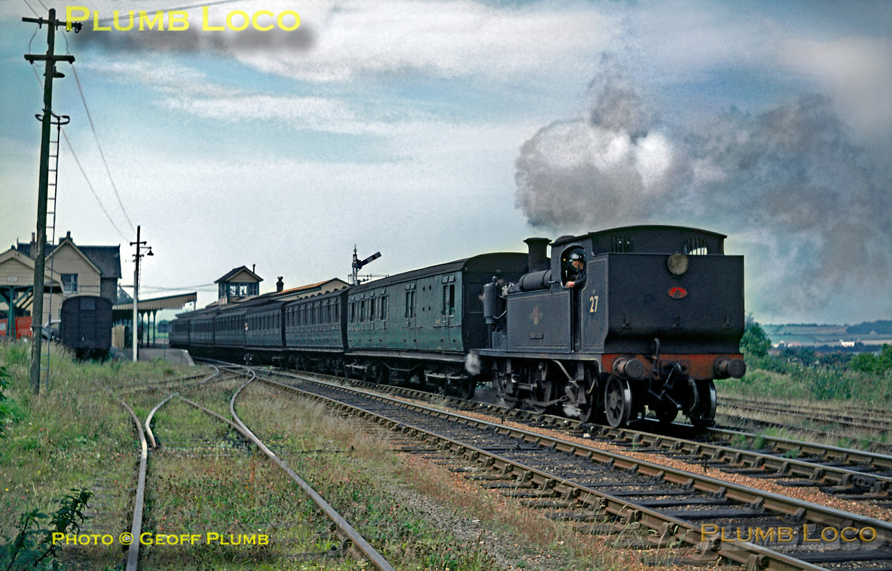 "O2 class 0-4-4T No. W27 ""Merstone"" starts away from Sandown station with the 10:40 train from Ventnor rto Ryde Pier Head on Monday 19th July 1965. Slide No. 1420."