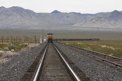 One of the many trains approaching the tiny town of Nipton, CA