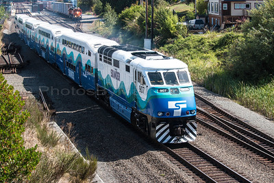 Sound Transit 907 departing the Mukilteo Station for the Seattle Sounders FC vs Portland Timbers game, 08-30-2015