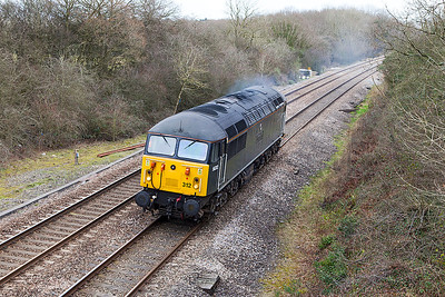 56312 'Jeremiah Dixon Son of County Durham Surveyor of the Mason-Dixon Line U.S.A.' passes Ram Hill light engine forming the 0Z56 08.22 Derby Gas Tank Sidings to Bristol Barton Hill Depot. Tuesday 25th February 2014.
