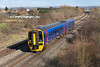 FGW's 158763 passes Badgeworth forming 2O90 12.50 Great Malvern to Weymouth. Wednesday 26th February 2014.