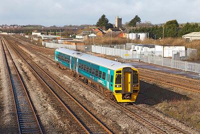 The 2G56 0916 Maesteg to Cheltenham Spa formed of 158825 arrives at Severn Tunnel Junction. Friday 21st February 2014.