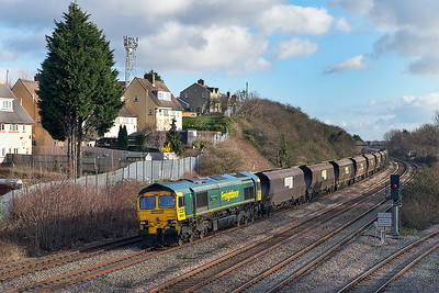 66526 'Driver Steve Dunn (George)' heads 6M04 11.22 Avonmouth to Rugeley Power Station loaded coal past East Usk. Thursday 9th January 2014.