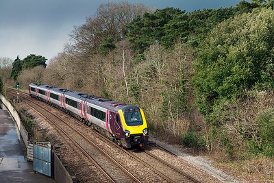 221138 forming the 1S45 09.25 Exeter St David's to Aberdeen passes Ram Hill. Journey started short due to the damage at Dawlish and diverted via Westbury due to the flooding south of Bridgwater. Tuesday 25th February 2014.