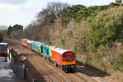Running as 0Z20 07.45 Okehampton to Derby Gas Tank Sidings 20189 & 20142 drag 47375 'Tinsley Traction Depot', 31459'Cerberus' & 47769 'Resolve' past Ram Hill on the approach to Westerleigh Junction. Tuesday 25th February 2014.