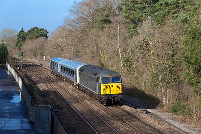 56312 'Jeremiah Dixon Son of County Durham Surveyor of the Mason-Dixon Line U.S.A.' passes the site of Coalpit Heath station with refurbished Chiltern Mk3 12620 & DVT 82309 forming 5Z56 Bristol Barton Hill to Wembley. Wednesday 26th February 2014.