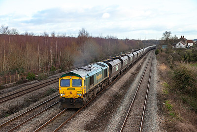 Running an hour late 66952 passes Church Road, Undy with 6M64 08.25 Portbury to Fiddlers Ferry Power Station loaded coal. Thursday 9th January 2014.