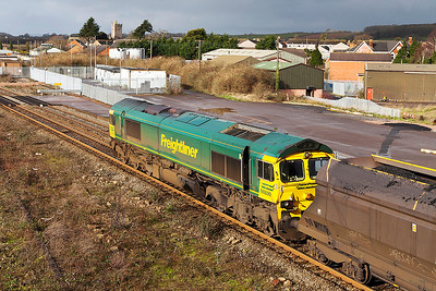 66530 passes Severn Tunnel Junction with 6M64 08.25 Portbury to Fiddlers Ferry Power Station loaded coal. Friday 21st February 2014.
