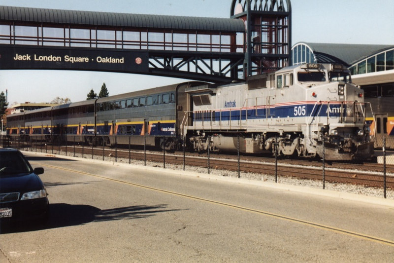 An Amtrak San Joaquin train led by a P32 sits at the platform awaiting its next assignment.