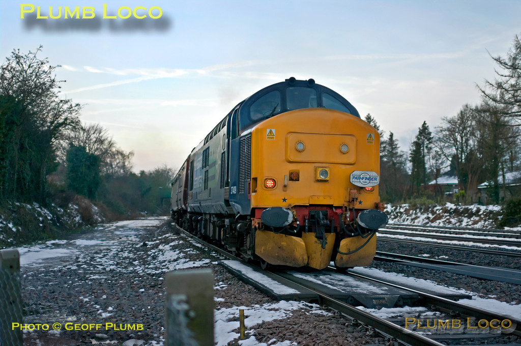 "As 1Z20 departs from the pathing stop at Princes Risborough with 20308 and 20312 leading, DRS 37409 brings up the rear of the train as they head for Liverpool Street with Pathfinder's ""Buffer Puffer"" railtour, 05:05 from Crewe. 08:01, Saturday 26th January 2013. Digital Image No. GMPI13815."